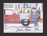 AUTO MECHANIC Personalized Cartoon Person Picture People Pic Gift - Custom Matted Print 8x10 or 9x12