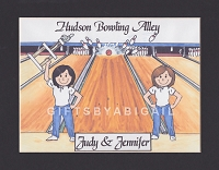 BOWLING Personalized Cartoon Person Picture People Pic Gift - Custom Matted Print 8x10 or 9x12