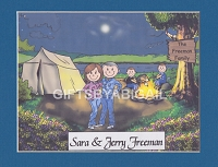 TENT CAMPING FAMILY Personalized Cartoon Person Picture People Pic Gift - Custom Matted Print 8x10 or 9x12