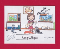 CAT LOVER Personalized Cartoon Person Picture People Pic Gift - Custom Matted Print 8x10 or 9x12