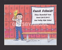 BASKETBALL COACH Personalized Cartoon Person Picture People Pic Gift - Custom Matted Print 8x10 or 9x12