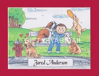 DOG LOVER Personalized Cartoon Person Picture People Pic Gift - Custom Matted Print 8x10 or 9x12