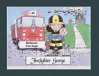 FIREFIGHTER Personalized Cartoon Person Picture People Pic Gift - Custom Matted Print 8x10 or 9x12