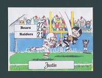 FOOTBALL Personalized Cartoon Person Picture People Pic Gift - Custom Matted Print 8x10 or 9x12