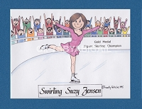 ICE SKATER Personalized Cartoon Person Picture People Pic Gift - Custom Matted Print 8x10 or 9x12
