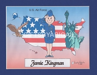 US AIR FORCE Personalized Cartoon Person Picture People Pic Gift - Custom Matted Print 8x10 or 9x12