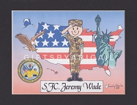 US ARMY Personalized Cartoon Person Picture People Pic Gift - Custom Matted Print 8x10 or 9x12