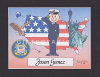 US COAST GUARD Personalized Cartoon Person Picture People Pic Gift - Custom Matted Print 8x10 or 9x12