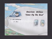 COMMERCIAL PILOT Personalized Cartoon Person Picture People Pic Gift - Custom Matted Print 8x10 or 9x12