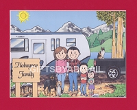 FIFTH WHEEL TRAILER CAMPING FAMILY Personalized Cartoon Person Picture People Pic Gift - Custom Matted Print 8x10 or 9x12