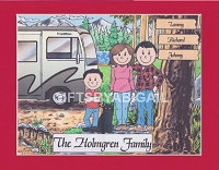 RV CAMPING FAMILY Personalized Cartoon Person Picture People Pic Gift - Custom Matted Print 8x10 or 9x12