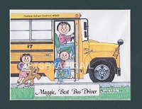 SCHOOL BUS DRIVER Personalized Cartoon Person Picture People Pic Gift - Custom Matted Print 8x10 or 9x12