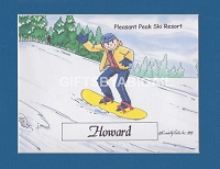 SNOWBOARDING Personalized Cartoon Person Picture People Pic Gift - Custom Matted Print 8x10 or 9x12