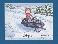 SNOWMOBILING Personalized Cartoon Person Picture People Pic Gift - Custom Matted Print 8x10 or 9x12