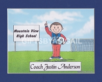 SOCCER COACH Personalized Cartoon Person Picture People Pic Gift - Custom Matted Print 8x10 or 9x12
