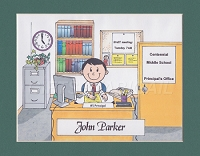 SCHOOL PRINCIPAL Personalized Cartoon Person Picture People Pic Gift - Custom Matted Print 8x10 or 9x12
