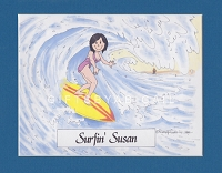 SURFER Personalized Cartoon Person Picture People Pic Gift - Custom Matted Print 8x10 or 9x12