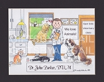 VETERINARIAN Personalized Cartoon Person Picture People Pic Gift - Custom Matted Print 8x10 or 9x12