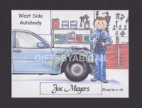 AUTO BODY SHOP Personalized Cartoon Person Picture People Pic Gift - Custom Matted Print 8x10 or 9x12