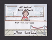 BANK TELLER Personalized Cartoon Person Picture People Pic Gift - Custom Matted Print 8x10 or 9x12