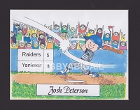 BASEBALL Personalized Cartoon Person Picture People Pic Gift - Custom Matted Print 8x10 or 9x12