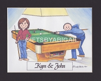 BILLIARDS / POOL Personalized Cartoon Person Picture People Pic Gift - Custom Matted Print 8x10 or 9x12