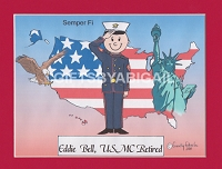 US MARINES Personalized Cartoon Person Picture People Pic Gift - Custom Matted Print 8x10 or 9x12