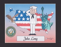 US NAVY Personalized Cartoon Person Picture People Pic Gift - Custom Matted Print 8x10 or 9x12