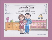 NEW BABY Personalized Cartoon Person Picture People Pic Gift - Custom Matted Print 8x10 or 9x12