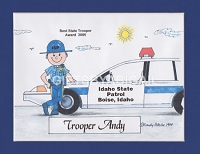 POLICE OFFICER Personalized Cartoon Person Picture People Pic Gift - Custom Matted Print 8x10 or 9x12