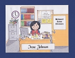 OFFICE MANAGER Personalized Cartoon Person Picture People Pic Gift - Custom Matted Print 8x10 or 9x12